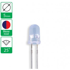 2 pin duo LED blauw/rood 25 graden 5mm