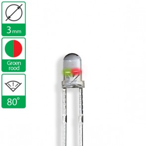 2 pin duo LED groen/rood 80 graden 3mm