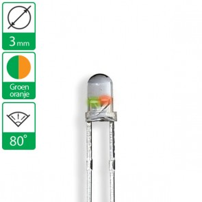 2 pin duo LED groen/oranje 80 graden 3mm