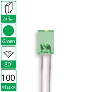 100 Groene LEDs 80 graden 2x5mm