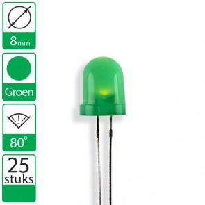25 Groene LEDs 80 graden 8mm