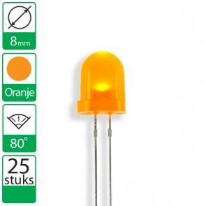 25 Oranje  LEDs 80 graden 8mm