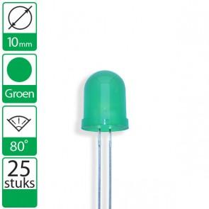 25 Groene LEDs 80 graden 10mm