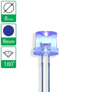 Blauwe LED 180 graden 8mm