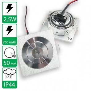 2,5W power LED spot vierkant kantelbaar warm wit, stroomgestuurd