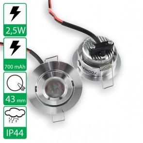2,5W power LED spot rond kantelbaar warm wit, stroomgestuurd