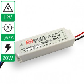 12V 1,67A 20W Mean well voeding LPV-20-12