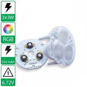 3x 3W RGB power LED PCB voorzien van flood lens