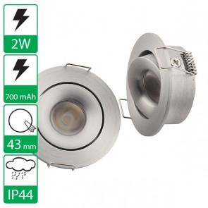 2W power LED spot rond kantelbaar warm wit, stroomgestuurd 700 mA