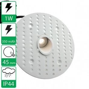 1W inbouw Mini led spot wit, stroomgestuurd 350 mA