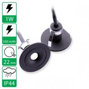 1W inbouw Mini led spot zwart, stroomgestuurd