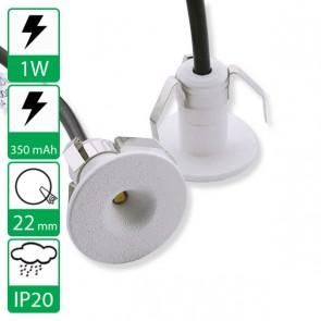 1W inbouw Mini led spot wit, stroomgestuurd
