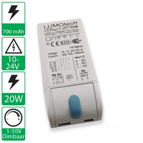 1-10V dimbare instelbare Lumotech 20W 350-700-1050mA voeding LO5011i