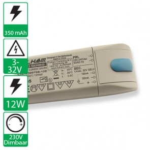 230V dimbare Fulham 12W 350-700mA voeding LO5021