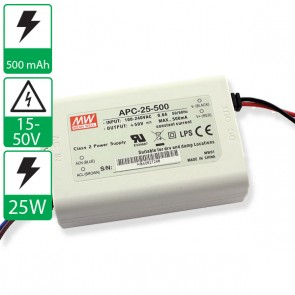 500mA 15-50V Mean well voeding APC-25-500