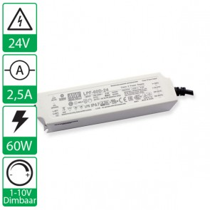 24V 2,5A 60W Mean well voeding, 1-10V dimbaar LPF-60D-24