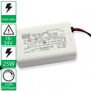 1050mA 16-24V 25W, 230v dimbare voeding PCD-25-1050B