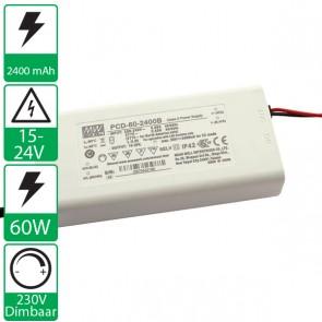 2400mA 15-25V 60W, 230v dimbare voeding PCD-60-2400B