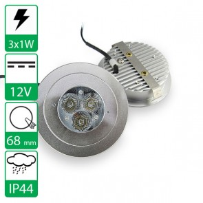 3x1W warm witte Power LED Spot 12V